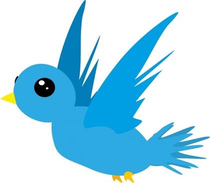 blue bird vector illustration with abstract cartoon style