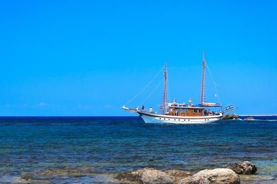 blue boat coast