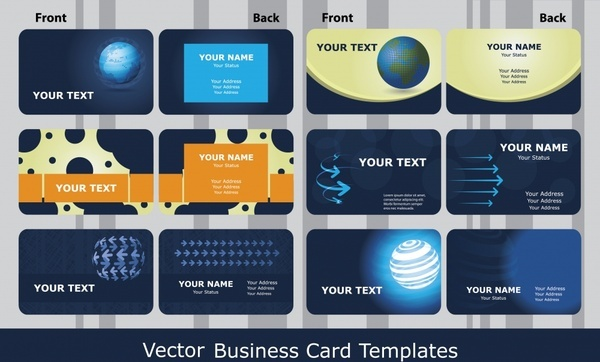 blue business card template vector technological sense