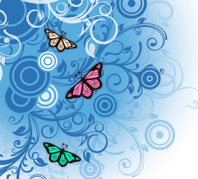 blue butterfly pattern and vector