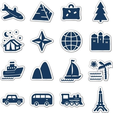 tourism icons collection flat sticker shapes design
