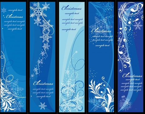 christmas banner templates twinkling snowflakes blue vertical design
