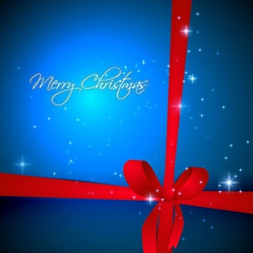 blue christmas background with red ribbon vector illustration