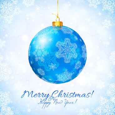 blue christmas ball with snow new year background