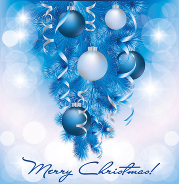 blue christmas decor design vector