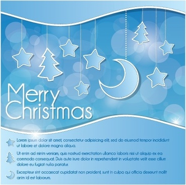 blue christmas decoration background moon vector