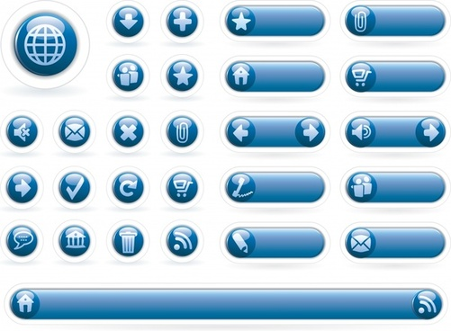 blue circle icon button vector