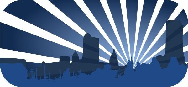 Blue City Scene clip art