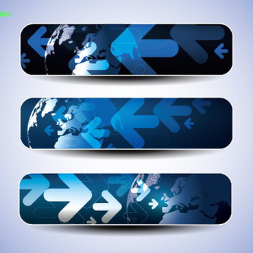 blue concept banner vector graphic set