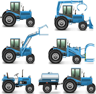blue construction vehicles vector graphics