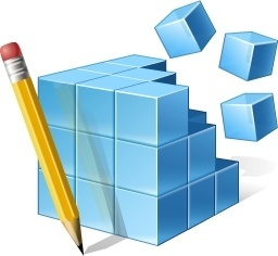 Blue cube and pencil
