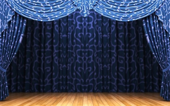 blue curtain and stage highdefinition picture