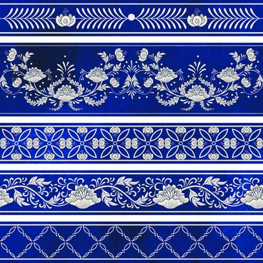 blue decorative ornaments russian style vector