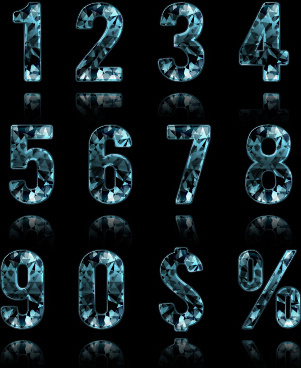 blue diamond numbers and symbol vector