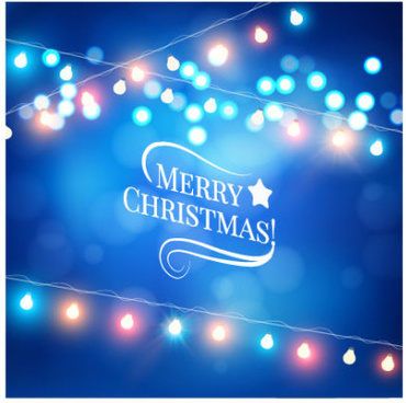 blue dream christmas background with colored lights vector