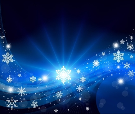 christmas background vivid dynamic snowflakes decor bokeh blue