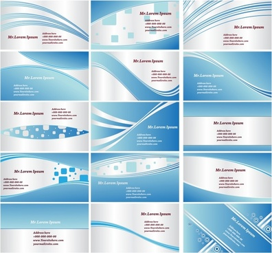 name card templates modern blue white dynamic decor