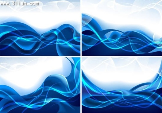waves background templates modern blue motion decor
