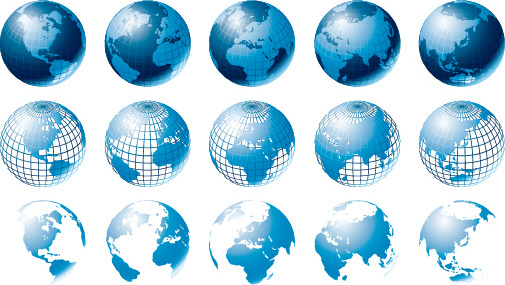 blue earth with maps vector