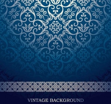 blue european pattern ornate vector