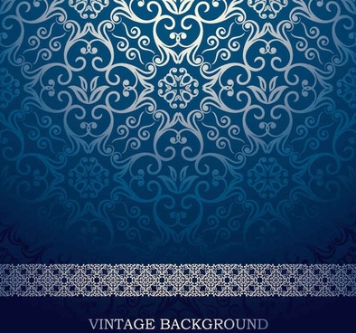 blue European pattern vector background
