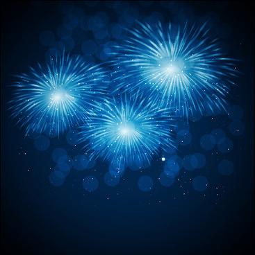 blue fireworks vector background