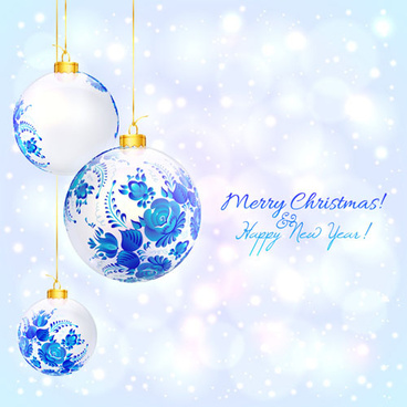 blue floral christmas ball art background vector