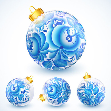 blue floral christmas ball creative vector