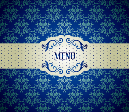 blue floral ornament vintage background vector