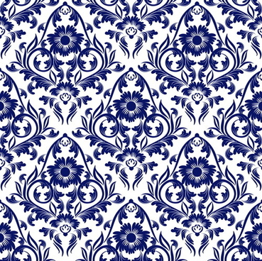 blue floral ornaments pattern seamless vector