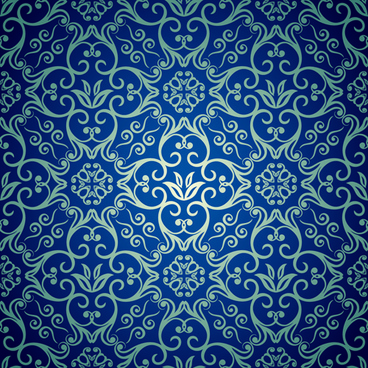 blue floral seamless pattern design vector