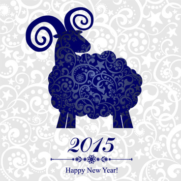 blue floral sheep15 new year background