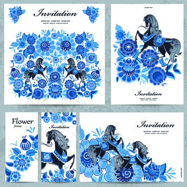 blue floral with horse pattern cards vector