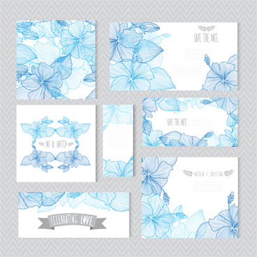 blue flower banner with cards vector
