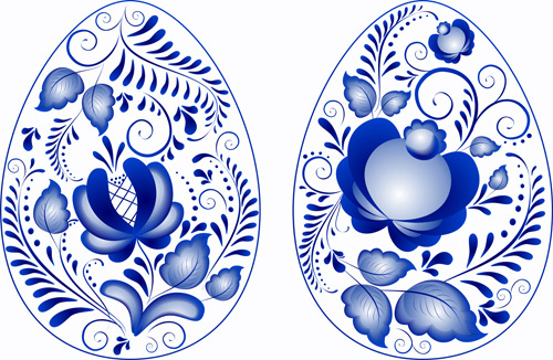 blue flower easter eggs vector