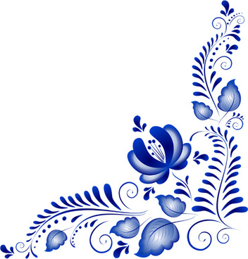 blue flower ornaments corner vector