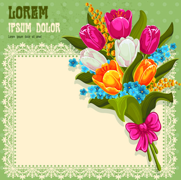 blue flower with lace card vector