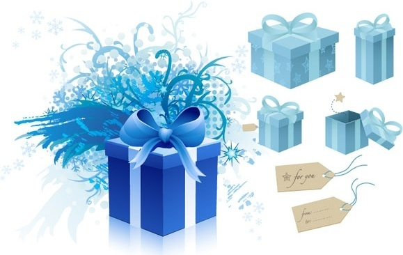 blue gift box theme vector