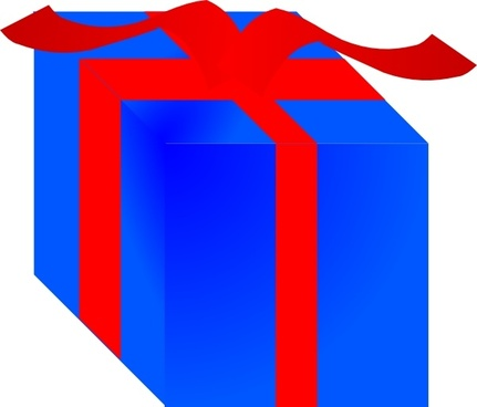 Blue Gift Box Wrapped With Red Ribbon clip art