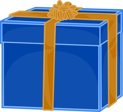 Blue Gift With Golden Ribbon clip art