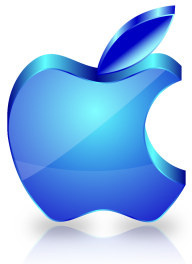 blue glass textured apple icon design vector
