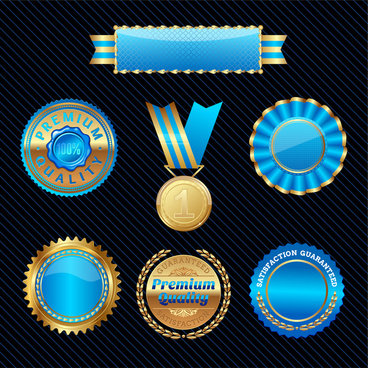blue glossy badge medal