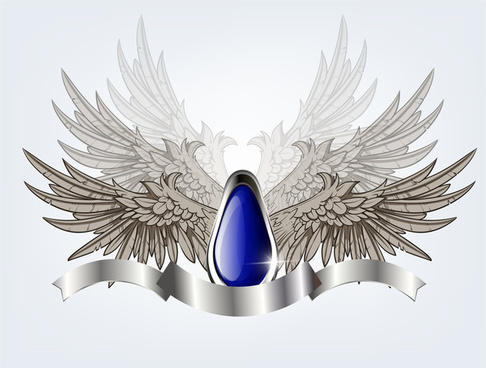 blue glossy shield with wing and ribbon