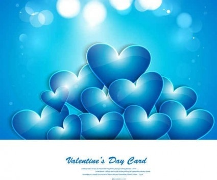 blue heart greeting card shiny vector