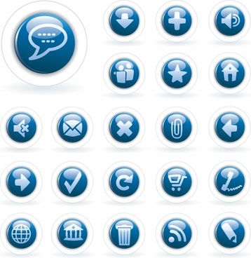 ui button collection modern shiny blue circles design
