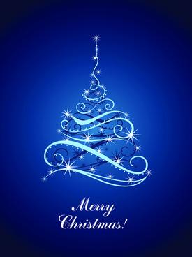 blue light christmas trees design vector