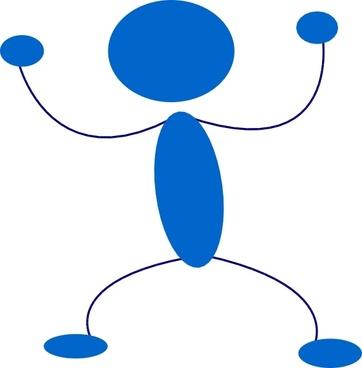 Blue Man Preparing To Punch clip art