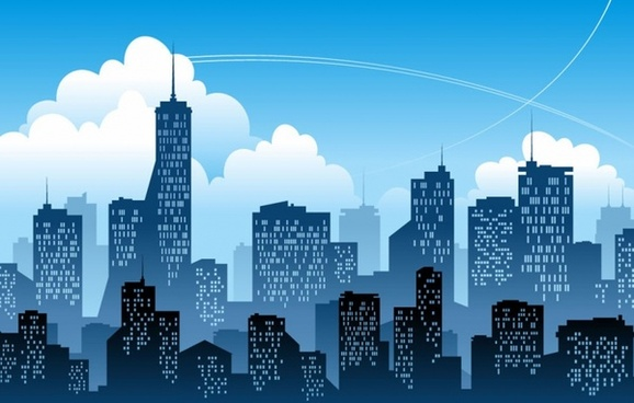 Blue Modern City Vector Illustration
