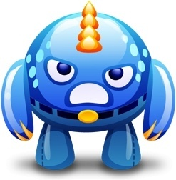 Blue monster angry