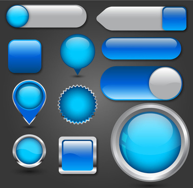 blue multishaped digital buttons collection